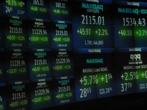 Stock prices on a stock exchange trading board